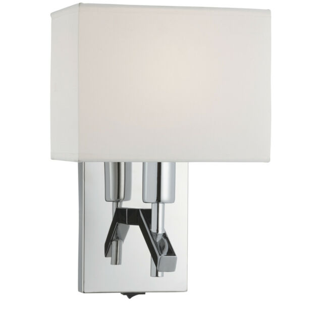 Searchlight 5903CC Chrome Wall Light With White Rectangle Shade