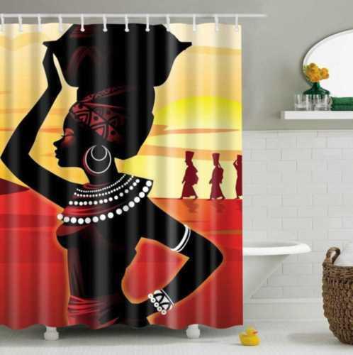 Waterproof Fabric Bathroom Shower Curtain Sheer Panel Decor 180180cm 12 Hooks African Women 01