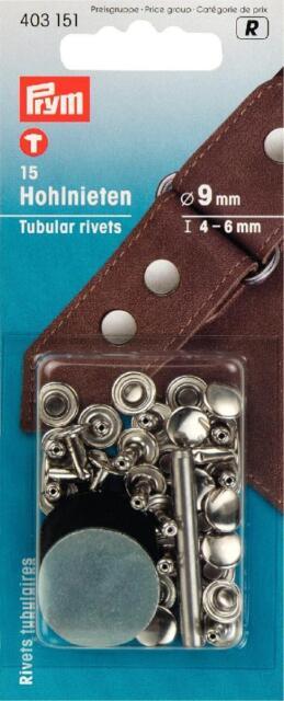 15 Hohlnieten silber Kappe 9 mm, Tiefe 4-6mm  Prym 403151 Hohl Nieten Werkzeug