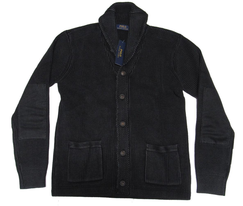 Polo Ralph Lauren Mens Shawl Knit Sun Faded Indigo Cardigan ...