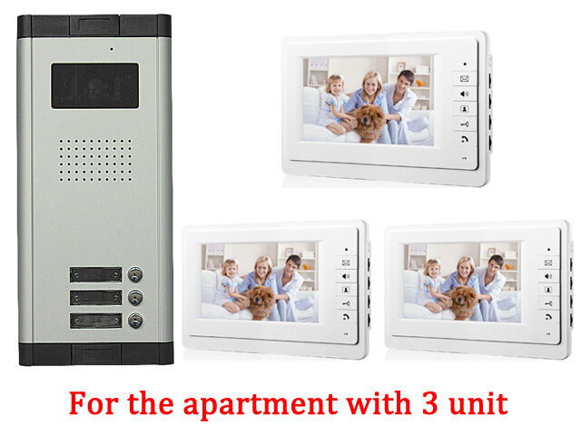 Apartment 3 Unit Intercom Entry System Wired Video Door Phone Audio