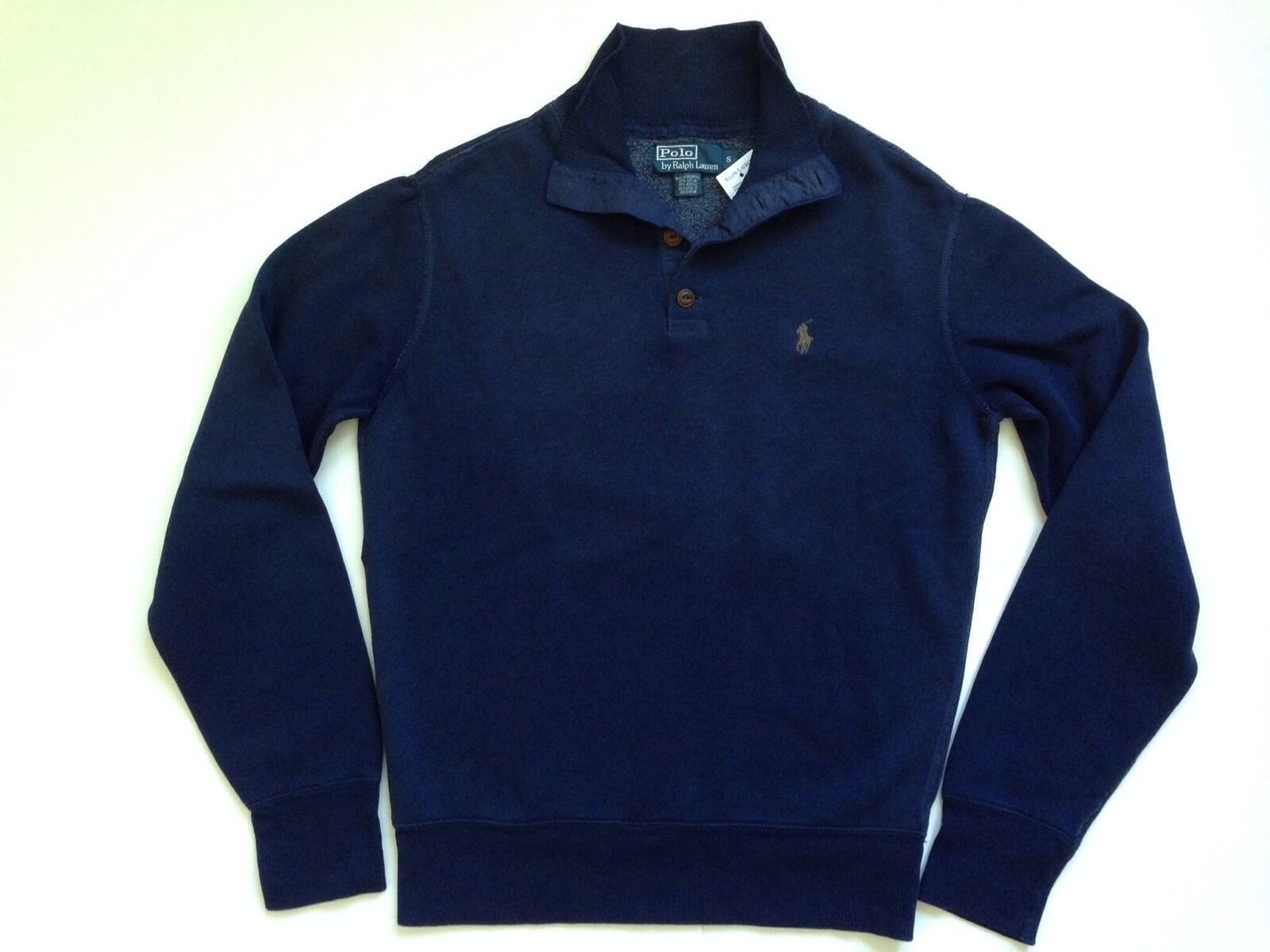 Ralph Lauren Men's 3 Button Mock Neck Cruise Navy Blue Cotton ...