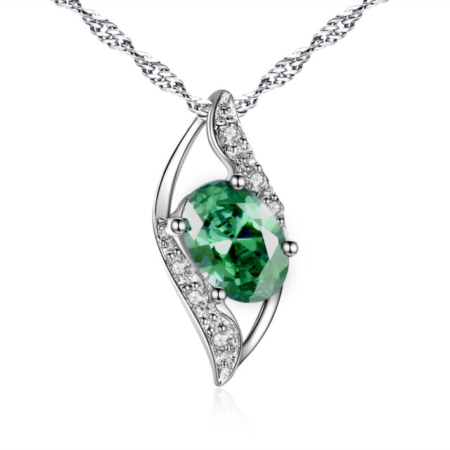 925 sterling silver 078 ct created oval cut emerald gemstone 925 sterling silver 078 ctw created oval cut emerald pendant gemstone necklace aloadofball Choice Image