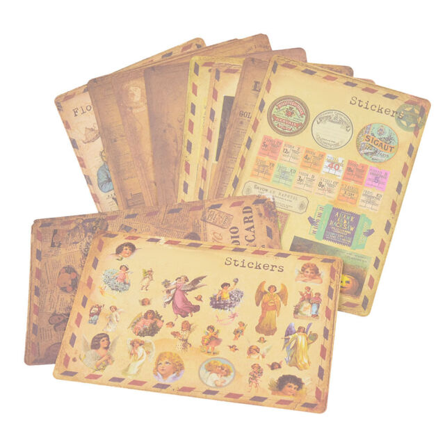 10 Sheets Lot Vintage Paper Stickers Diy Sbooking Al Diary Craft Decor