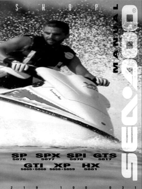 seadoo service shop manual 1996 sp spi spx gti gts hx xp ebay rh ebay com sea doo xp di service manual sea doo xp service manual