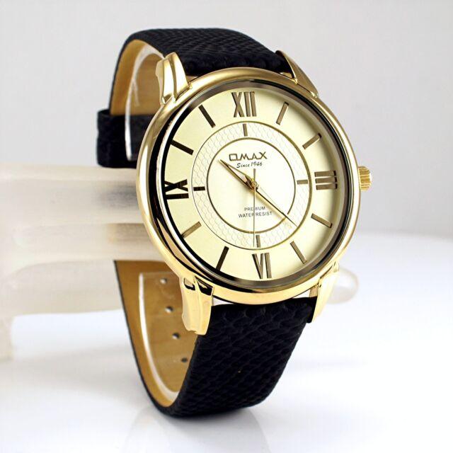 Omax Classic Slim Gold Pl Seiko Y121 Movt Gents Black Swiss Dress Watch LA01G12I