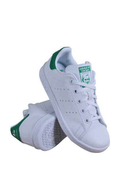 adidas originali stan smith scarpe ba8375 bambini bianco / verde.