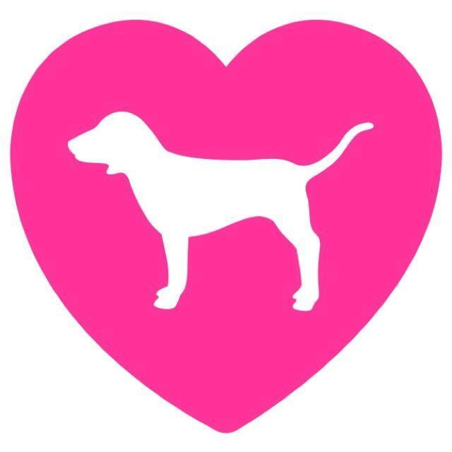 Pink heart love dog victoria secret vinyl decal sticker