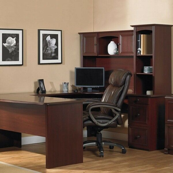 U-Shaped Office Executive Desk WITH Hutch Cherry L-shape
