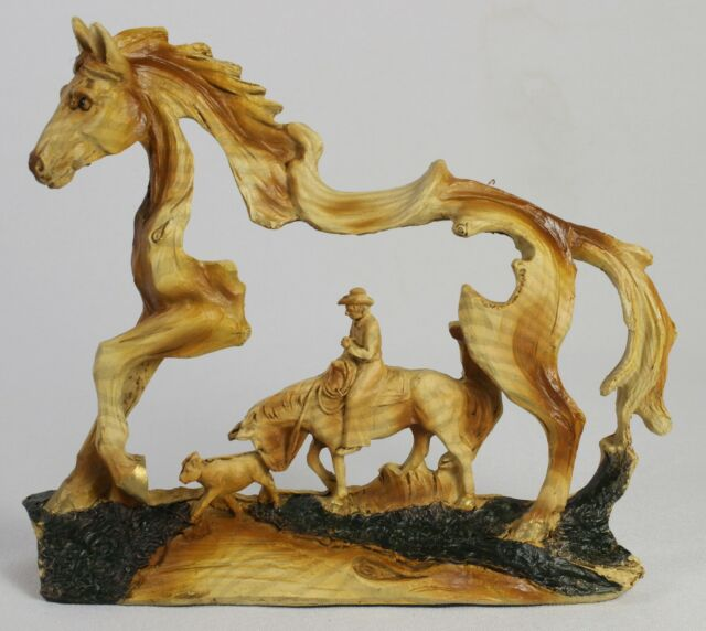 Cowboy in horse faux wood carving figure statue western