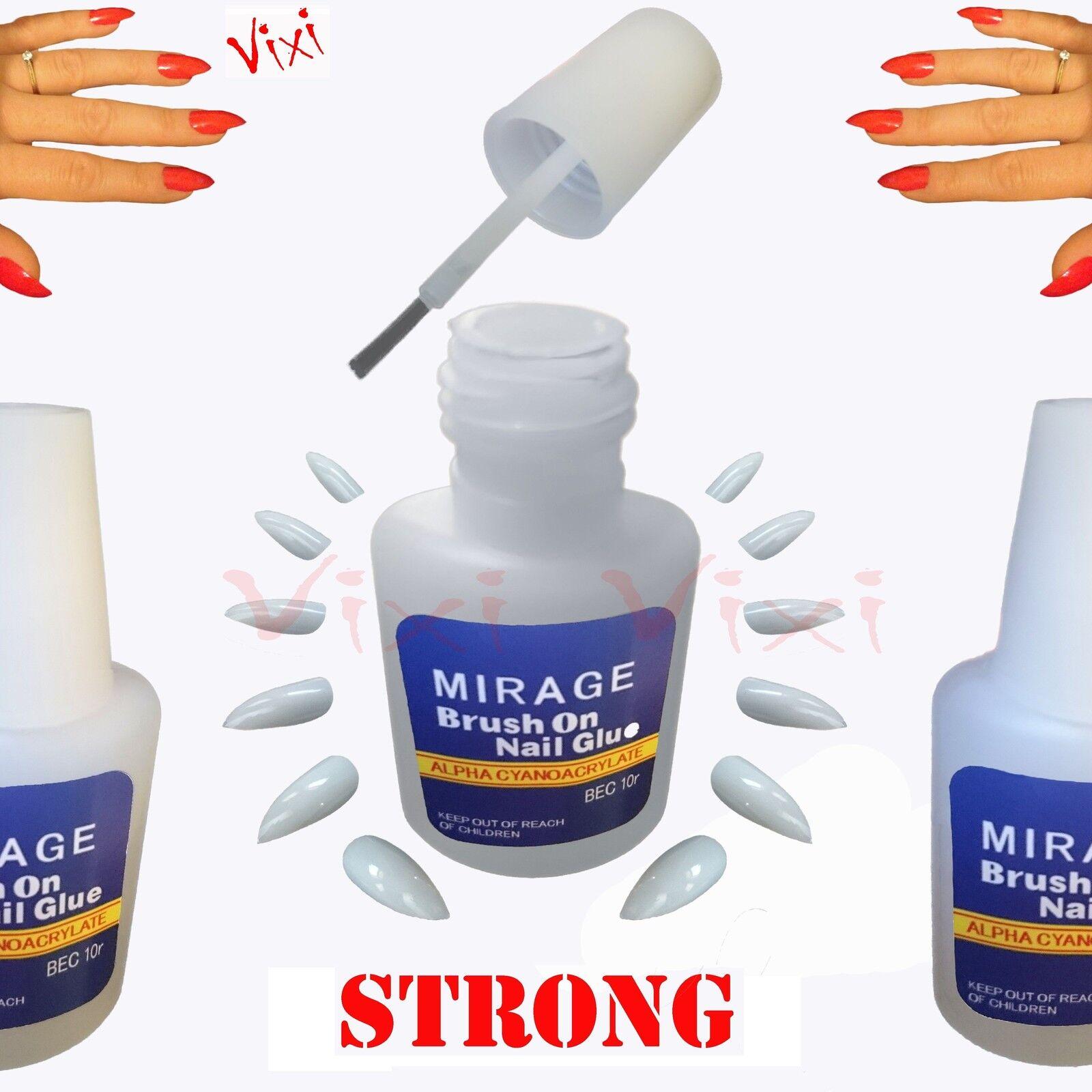 2x10g Nail Art Glue Brush Strong Adhesive Acrylic False Tips