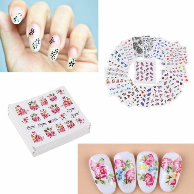 50 Sheetsset 3d Nail Art Stickers Flowers Decals Diy Manicure Water