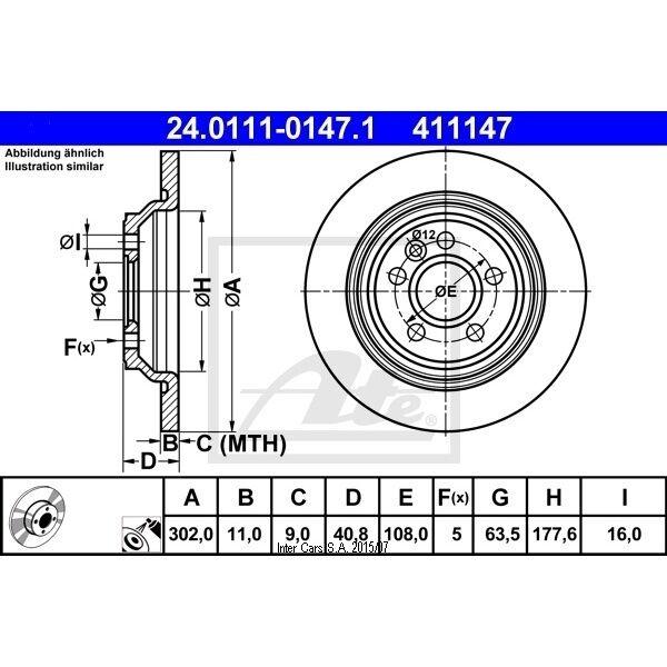 Bremsscheibe 1 Stück ATE 24.0111-0147.1