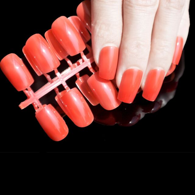 24pcs Shiny Bright Red Color Fashion Fake Nails Acrylic Long False ...