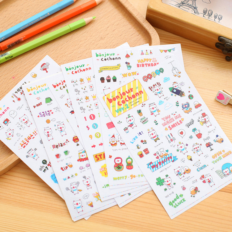 6sheets Cartoon Pig Diary Planner Decoration Paper Scrapbook