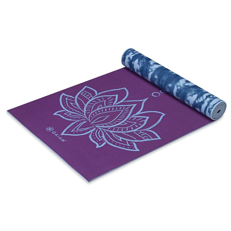 Gaiam premium print reversible yoga mat puple lotus 5mm ebay premium print reversible yoga mat purpleblue lotus design 5mm thick 68 in long mightylinksfo