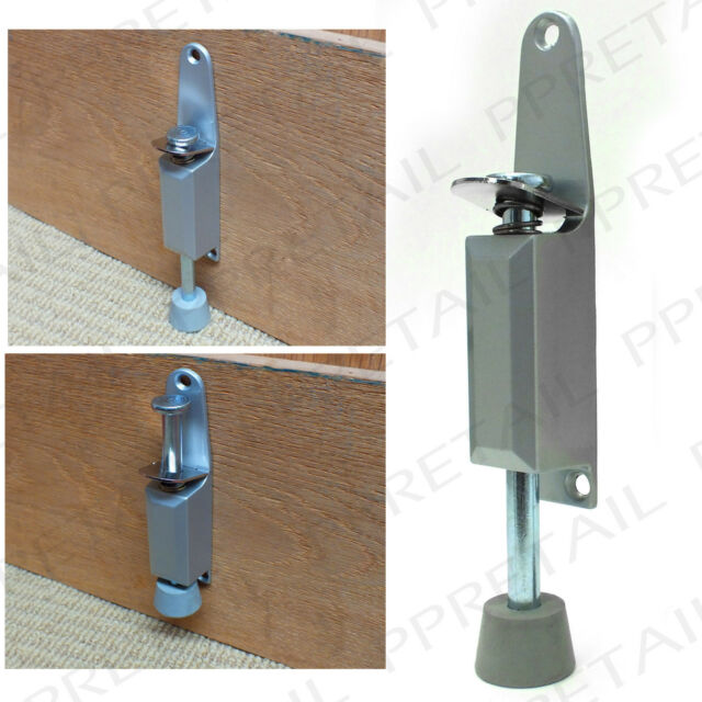Mm kick down foot operated door stop satin aluminium