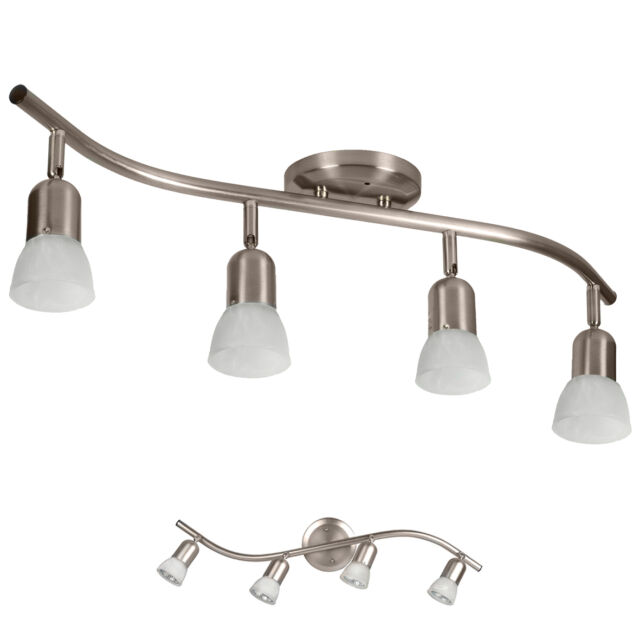 4 Globe Track Lighting Wall Or Ceiling Mount Light Fixture Brushed Nickel