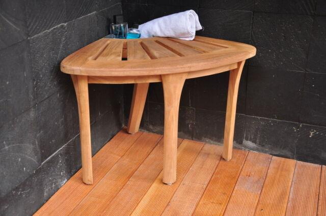 A Grade Teak Bath Corner Seat Shower Bench Stool W/ Basket Spa Outdoor  Garden