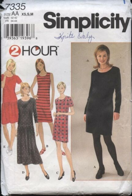 Simplicity 7335 Misses 2 Hour Knit Dress Dress Sewing Pattern XS S M ...