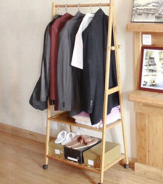 Portable Multi Function Bamboo Double Shelf Rail Clothes Hanger Storage Rack
