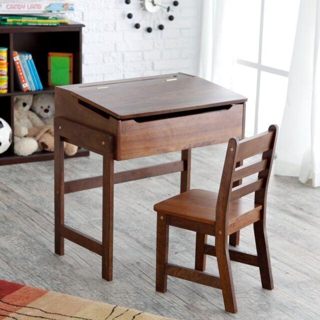 Schoolhouse Desk And Chair Set Walnut 1
