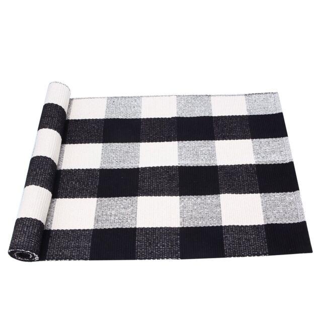 PRAGOO Cotton Rug Hand Woven Checkered Carpet Braided Kitchen Mat Living  Room