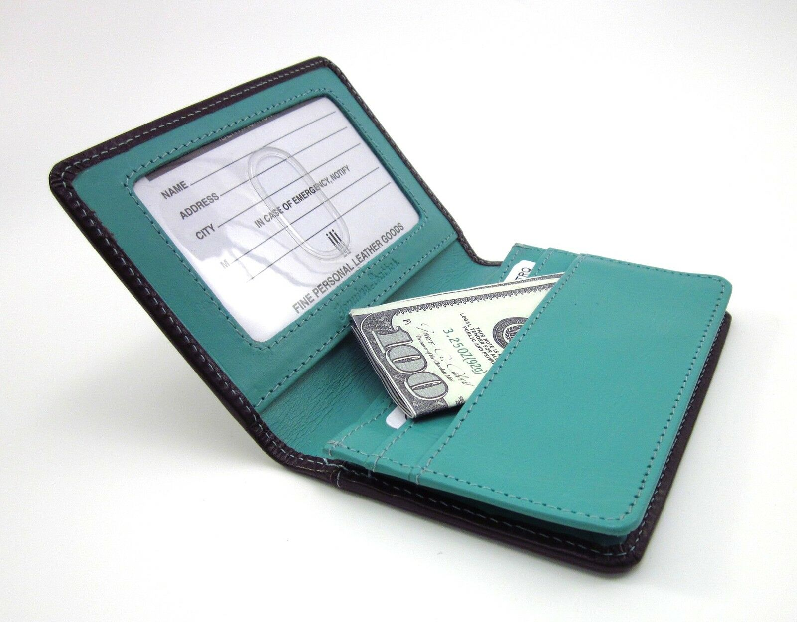 Ili leather credit card holder brown turquoise business card case picture 1 of 4 reheart Images