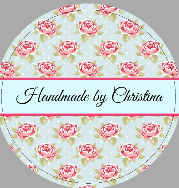24 x 40mm personalised stickers round labels vintage floral blue handmade by