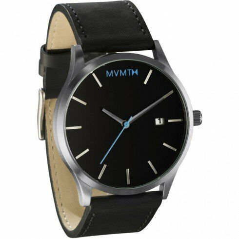 Mvmt watches silver case with black leather strap men 39 s watch 42mm ebay for Mvmt watches