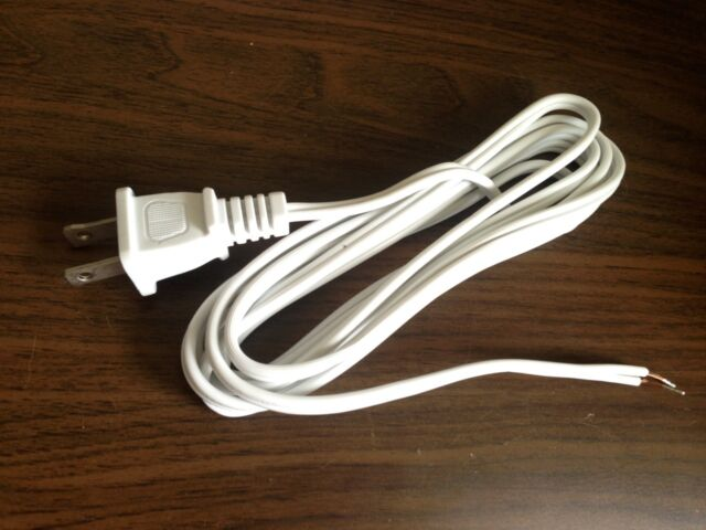 8 FT White Lamp Cord CORDSET With Molded Polarized Plug 18/2 Spt-1 ...