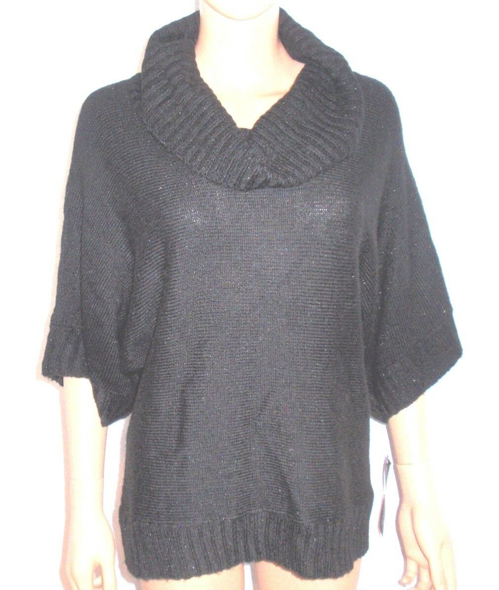 Notations Petite Black Knit Warm Metallic Cowl Neck Pullover ...