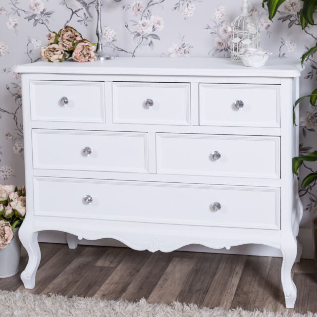 Large White Chest of Drawers French Shabby Vintage Chic Bedroom Furniture Ornate