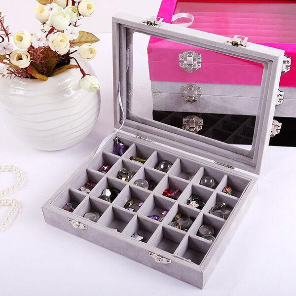 24 Slots Velvet Glass Ring Display Organizer Holder Earring Jewelry