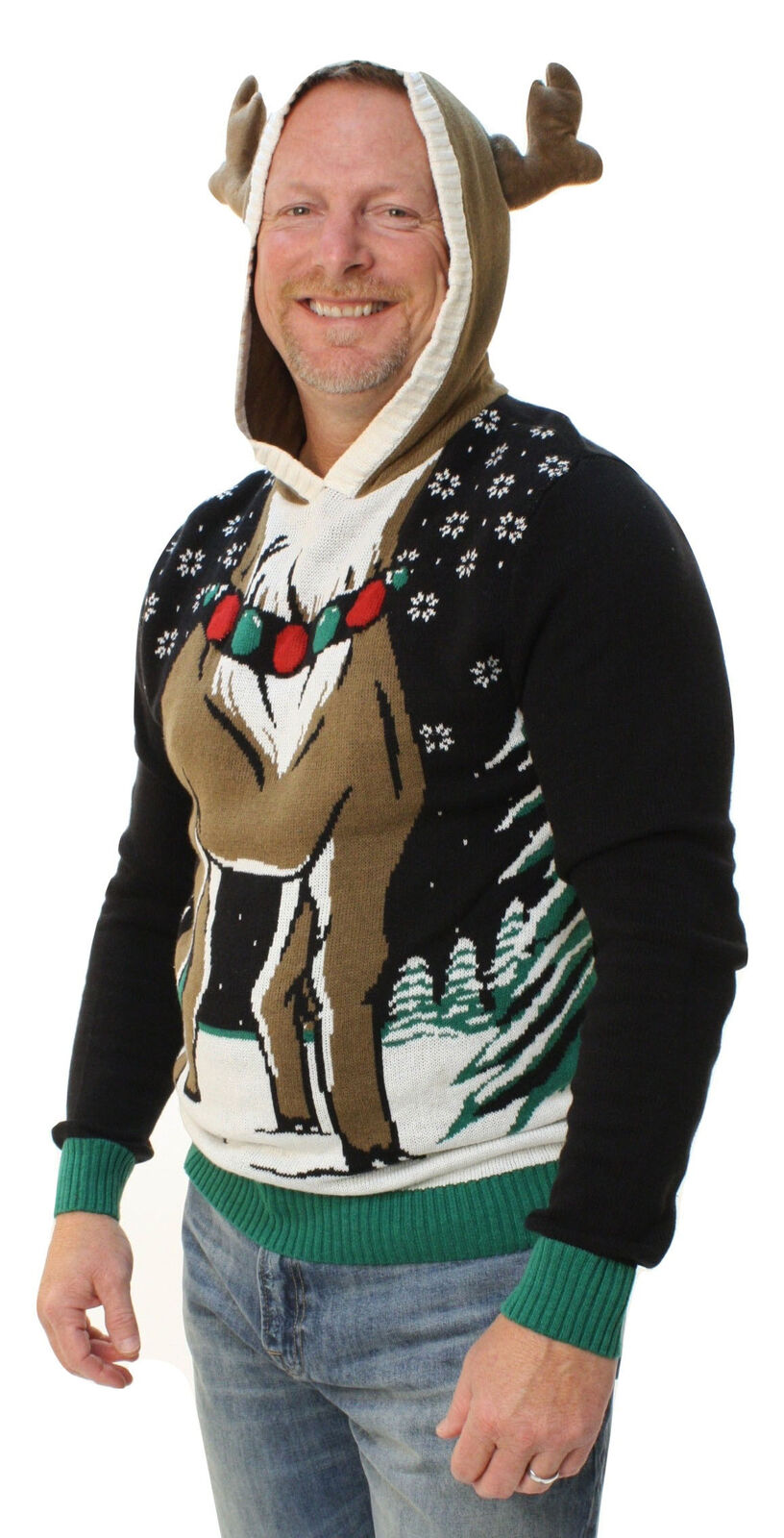 Ugly Christmas Sweater Men's Reindeer Hooded Light up Pullover ...