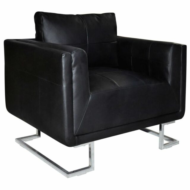 Contemporary Cube Club Chair Accent Armchair Real Leather Chrome Frame Black
