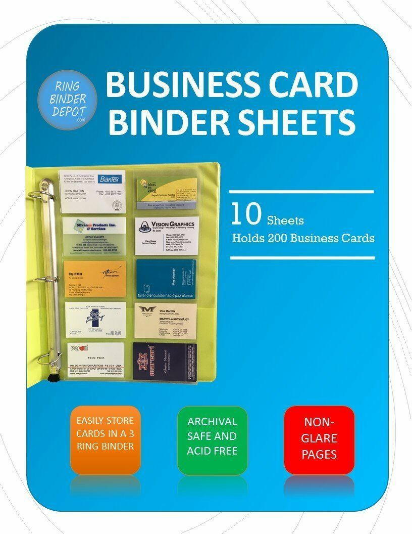 Business Card Sheet Protectors for 3 Ring Binder 10 Pack 8.5 X 11 ...