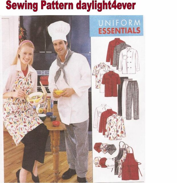 Women Men Chef Jacket Hat Apron Pants Sewing Pattern 2233 Mccall\'s ...