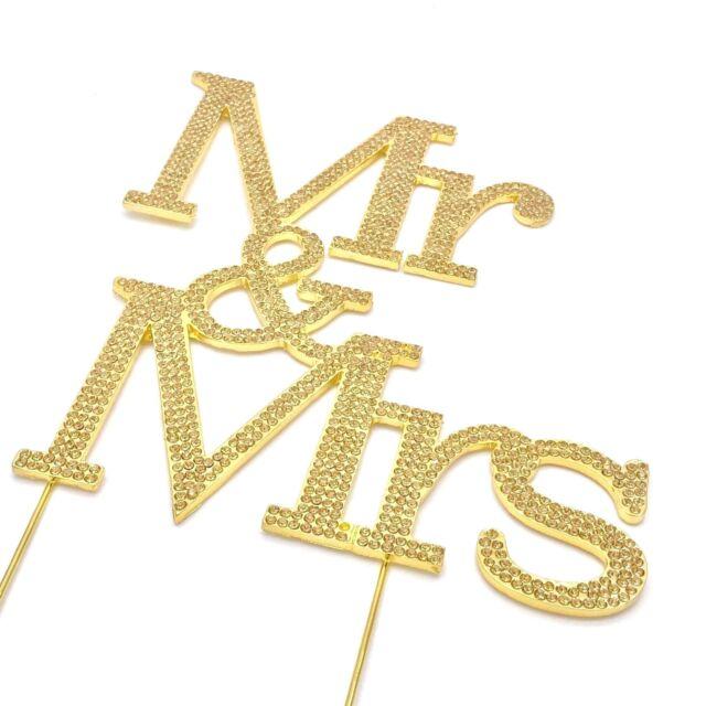 Mr & Mrs Wedding Anniversary Diamante Rhinestone Gem Cake Topper ...