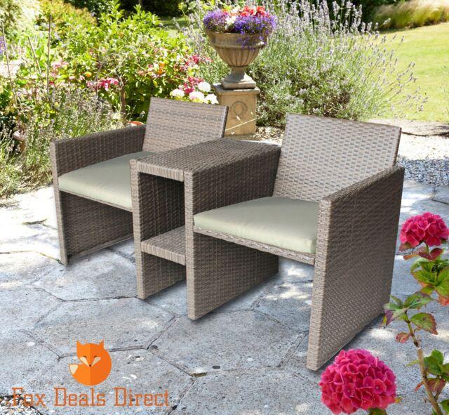 Patio Rattan Garden Furniture Love Seat Companion 2 Seater & Cream Seat Cushions