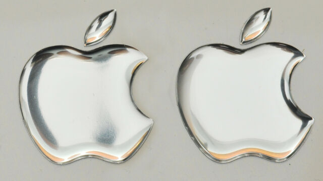 2 x 3d mirror domed apple logo stickers for iphone ipad cover size