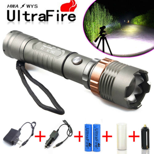 Ultrafire Tactical Police 15000LM XM-L T6 LED 5Modes 18650 Flashlight lamp Battery&Charger