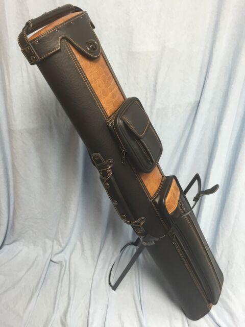 J Amp J Pc35x 4 3x5 Pool Cue Case With Stand Black Tan Ebay