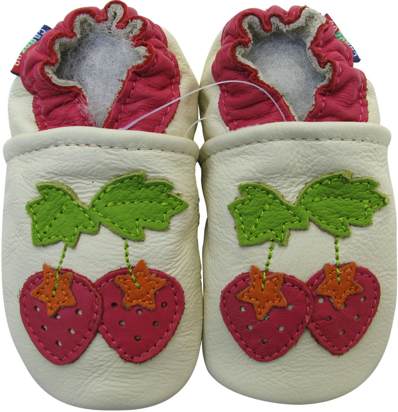 Carozoo Soft Sole Leather Baby Shoes Strawberry Cream 12 18m