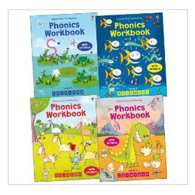 Usborne Phonics 4 Books Set Collection Ideal Very first Reading School Workbooks