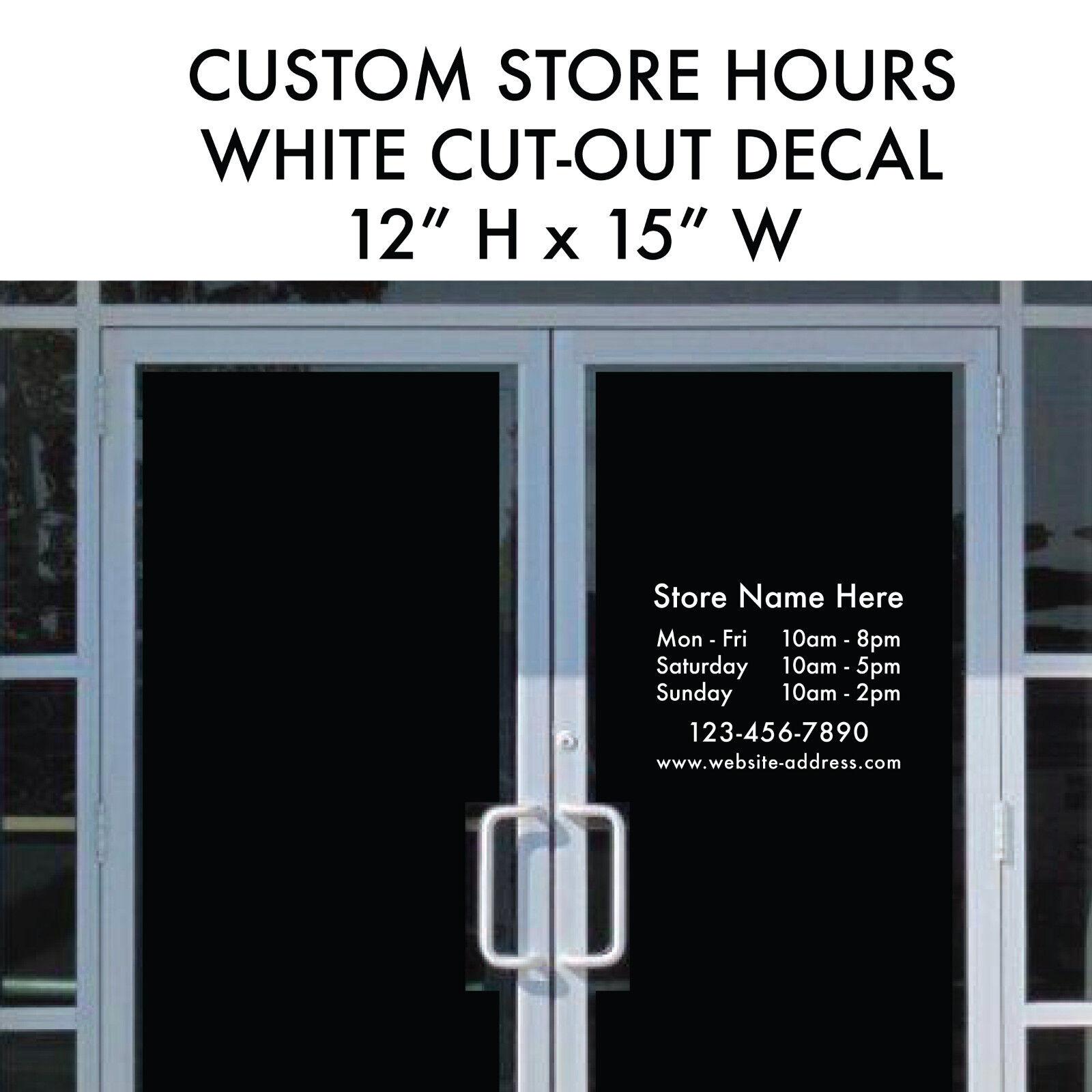 Hours Business Custom Cutout Vinyl Decal Sticker X Window - Custom vinyl decal stickers for business