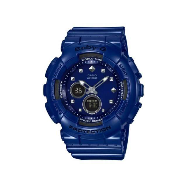 Casio Baby-G Ladies Wrist Watch BA125-2A BA-125-2ACR Blue Digital-Analog New