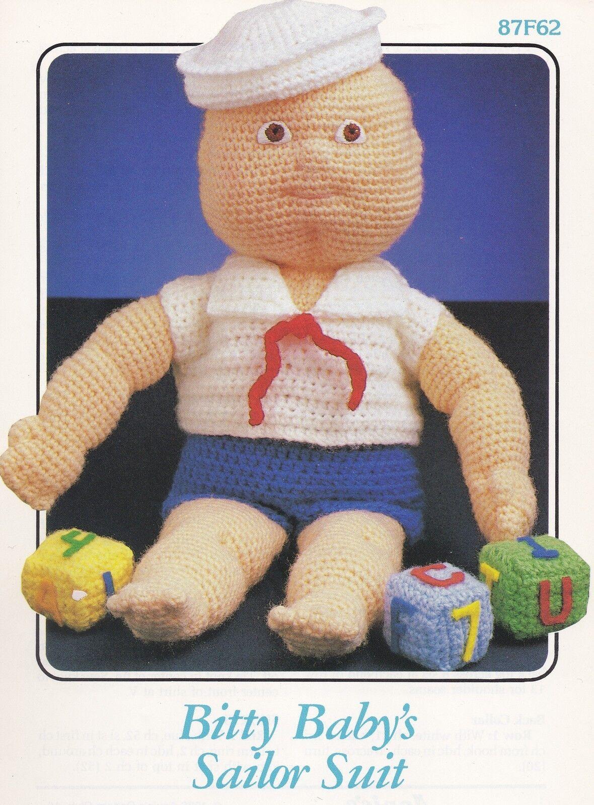 87F62 Annie\'s Attic Bitty Baby\'s Sailor Suit Crochet Pattern OOP LN ...