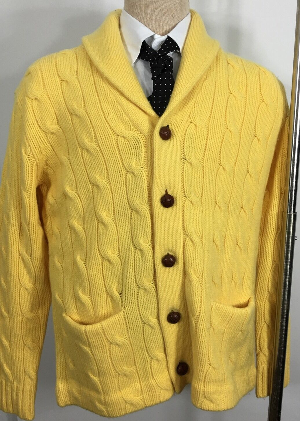 Ralph Lauren Polo Cable Knit Cardigan Sweater Mens Medium Yellow ...