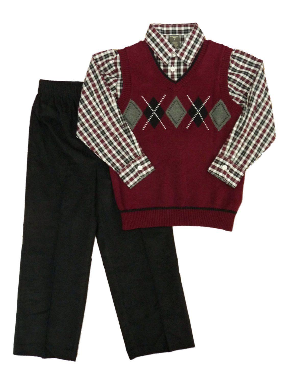 DOCKERS Boys 3-piece Outfit Burgundy Argyle Sweater Vest Shirt ...